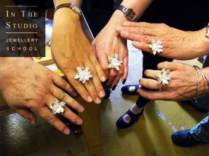 Argentium Silver floral rings on hands
