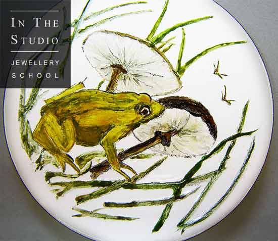 Enamelled-frog-brooch