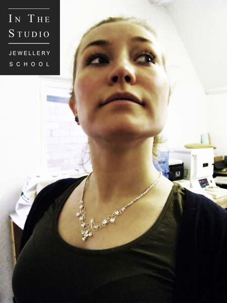 Modelling floral necklace in Argentium Silver 2
