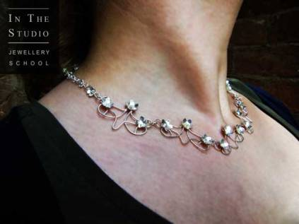 Modelling floral necklace in Argentium Silver
