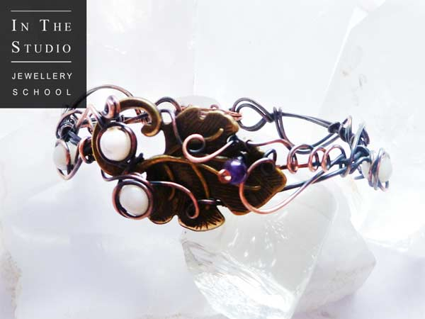Wire-Wrap-Beaded-Leaf-Bangle