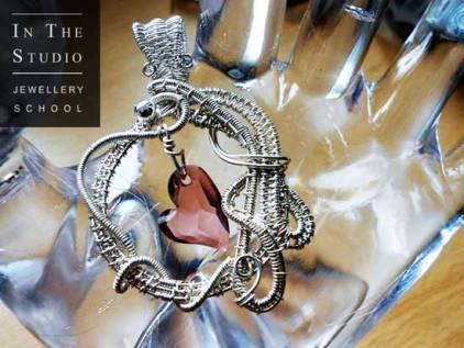 Woven-Silver-Wire-Heart-Stone-Pendant