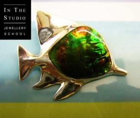 Cast-Silver-Fish-Pendant-with-Stone-Setting
